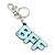'BFF' Light Blue Plastic Rhodium Plated Keyring/ Bag Charm - 85mm Length - view 6