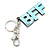 'BFF' Light Blue Plastic Rhodium Plated Keyring/ Bag Charm - 85mm Length - view 2