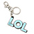 'LOL' Light Blue Plastic Rhodium Plated Keyring/ Bag Charm - 80mm Length