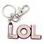 'LOL' Light Pink Plastic Rhodium Plated Keyring/ Bag Charm - 80mm Length
