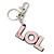 'LOL' Light Pink Plastic Rhodium Plated Keyring/ Bag Charm - 80mm Length - view 6