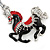 Rhodium Plated Black, Red Enamel, Crystal Horse Keyring/ Bag Charm -10cm Length - view 2