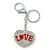 Rhodium Plated Clear Crystal 'Love' Puffed Heart Keyring/ Bag Charm - 85mm Length