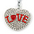 Rhodium Plated Clear Crystal 'Love' Puffed Heart Keyring/ Bag Charm - 85mm Length - view 2