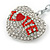 Rhodium Plated Clear Crystal 'Love' Puffed Heart Keyring/ Bag Charm - 85mm Length - view 3