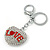 Rhodium Plated Clear Crystal 'Love' Puffed Heart Keyring/ Bag Charm - 85mm Length - view 4