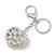 Rhodium Plated Clear Crystal 'Love' Puffed Heart Keyring/ Bag Charm - 85mm Length - view 5