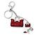 Rhodium Plated Crystal, Dark Red Enamel Puffed Bag, Shoe Keyring/ Bag Charm - 14cm Length