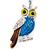 Rhodium Plated Multicoloured Enamel, Crystal Owl Keyring/ Bag Charm -11cm Length - view 2