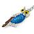 Rhodium Plated Multicoloured Enamel, Crystal Owl Keyring/ Bag Charm -11cm Length - view 3