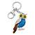 Rhodium Plated Multicoloured Enamel, Crystal Owl Keyring/ Bag Charm -11cm Length