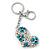 Rhodium Plated Large Clear Crystal, Enamel Flower Heart Keyring/ Bag Charm - 10cm Length - view 5