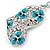 Rhodium Plated Large Clear Crystal, Enamel Flower Heart Keyring/ Bag Charm - 10cm Length - view 4