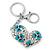 Rhodium Plated Large Clear Crystal, Enamel Flower Heart Keyring/ Bag Charm - 10cm Length - view 6