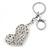 Rhodium Plated Large Clear Crystal, Enamel Flower Heart Keyring/ Bag Charm - 10cm Length - view 3
