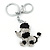 Silver Tone Clear Crystal, Black Enamel 'Dog' Keyring/ Bag Charm -10cm Length