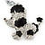 Silver Tone Clear Crystal, Black Enamel 'Dog' Keyring/ Bag Charm -10cm Length - view 2