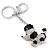Silver Tone Clear Crystal, Black Enamel 'Dog' Keyring/ Bag Charm -10cm Length - view 3