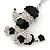 Silver Tone Clear Crystal, Black Enamel 'Dog' Keyring/ Bag Charm -10cm Length - view 4