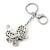 Silver Tone Clear Crystal, Black Enamel 'Dog' Keyring/ Bag Charm -10cm Length - view 5