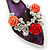Rhodium Plated Deep Purple Enamel High Heel Shoe With Crystals And Roses Keyring/ Bag Charm - 16cm L - view 2