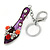 Rhodium Plated Deep Purple Enamel High Heel Shoe With Crystals And Roses Keyring/ Bag Charm - 16cm L - view 5