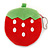 Yummy Strawberry Red/ Green Fabric Coin Purse/ Bag Charm for Kids - 10cm Width