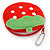 Yummy Strawberry Red/ Green Fabric Coin Purse/ Bag Charm for Kids - 10cm Width - view 3