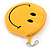 Smiling Face Bright Yellow Fabric Coin Purse/ Bag Charm for Kids - 10.5cm Width - view 3