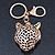 Crystal Tiger Keyring/ Bag Charm In Gold Plating - 11cm L - view 5