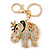 Crystal Queen Elephant Keyring/ Bag Charm In Gold Plating - 11cm L
