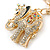 Crystal Queen Elephant Keyring/ Bag Charm In Gold Plating - 11cm L - view 6