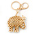Crystal Queen Elephant Keyring/ Bag Charm In Gold Plating - 11cm L - view 9