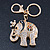 Crystal Queen Elephant Keyring/ Bag Charm In Gold Plating - 11cm L - view 2
