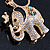 Crystal Queen Elephant Keyring/ Bag Charm In Gold Plating - 11cm L - view 10