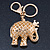 Crystal Queen Elephant Keyring/ Bag Charm In Gold Plating - 11cm L - view 5