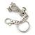 Clear Austrian Crystal Dog Keyring/ Bag Charm In Silver Tone - 11cm L - view 6