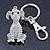 Clear Austrian Crystal Dog Keyring/ Bag Charm In Silver Tone - 11cm L - view 7