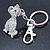 Clear Austrian Crystal Dog Keyring/ Bag Charm In Silver Tone - 11cm L - view 5