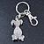 Clear Austrian Crystal Dog Keyring/ Bag Charm In Silver Tone - 11cm L - view 8