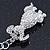 Clear Austrian Crystal Dog Keyring/ Bag Charm In Silver Tone - 11cm L - view 4