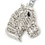 Clear Crystal Horse Head Keyring/ Bag Charm In Silver Tone - 12cm L - view 3