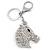 Clear Crystal Horse Head Keyring/ Bag Charm In Silver Tone - 12cm L