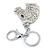Clear Crystal Horse Head Keyring/ Bag Charm In Silver Tone - 12cm L - view 5