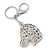 Clear Crystal Horse Head Keyring/ Bag Charm In Silver Tone - 12cm L - view 4