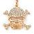 Clear Crystal Skull & Crossbones Keyring/ Bag Charm In Gold Tone - 12cm L - view 2