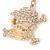 Clear Crystal Skull & Crossbones Keyring/ Bag Charm In Gold Tone - 12cm L - view 3