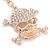 Clear Crystal Skull & Crossbones Keyring/ Bag Charm In Gold Tone - 12cm L - view 5