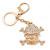 Clear Crystal Skull & Crossbones Keyring/ Bag Charm In Gold Tone - 12cm L