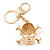 Clear Crystal Skull & Crossbones Keyring/ Bag Charm In Gold Tone - 12cm L - view 4